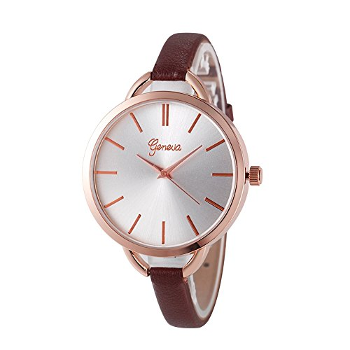 Casual Leder Frauen Rosegold Armbanduhren Quarz analog Uhr Braun