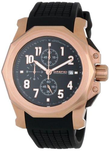 Orefici ORM6C4403 Herren Schwarz Kautschukband Schwarzes Zifferblatt Chronograph Watch