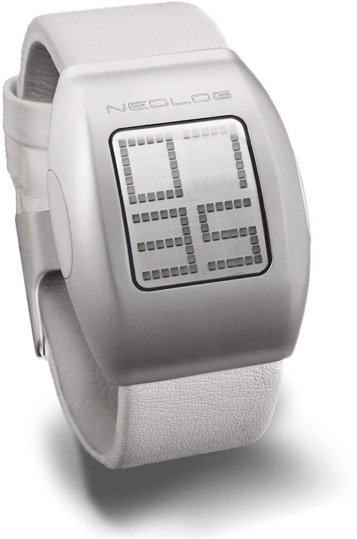 Neolog Unisex-Armbanduhr A24+ White Lederarmband LCD Digital Quarz