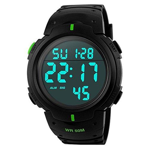 Timer Wasserdicht Elektronische Armbanduhren fuer Maenner Grosse Zifferblatt Sport armbanduhr