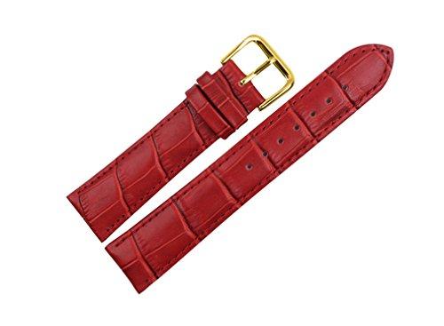 uYOUNG 16 mm Damen Armbanduhr echtem Leder Krokodil Korn rot golden Schliesse Band