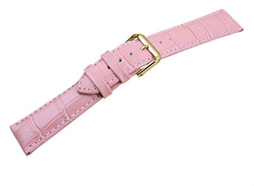 uYOUNG 14 mm Damen Armbanduhr Echtleder Krokodil Korn Rosa Golden Schliesse Band