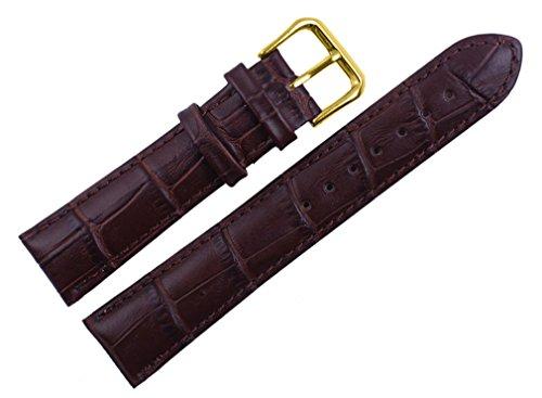 uYOUNG 16 mm Damen Armbanduhr Echtleder Krokodil Korn braun Golden Schliesse Band