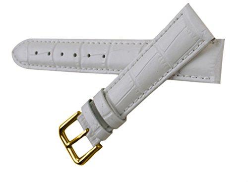uYOUNG 16 mm Damen Armbanduhr echt Leder Krokodil Korn weiss golden Schliesse Band