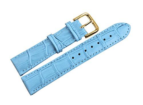 uYOUNG 14 mm Damen Armbanduhr echt Leder Krokodil Korn Blau Golden Schliesse Band