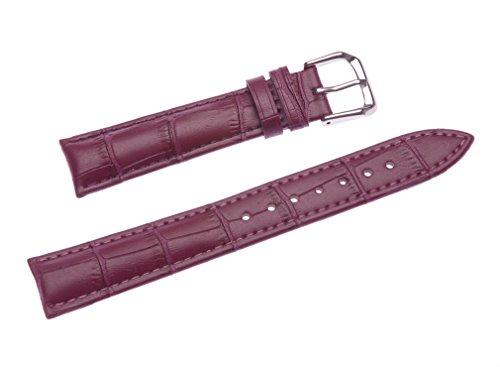 uYOUNG 14 mm Damen Lila Echtes Leder Alligator Grain Watch Band
