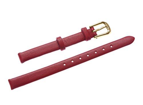 uYOUNG 8 mm Damen rot echt Leder Golden Verschluss duenn Armbanduhr Band