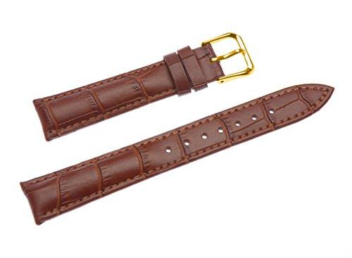 uYOUNG 12 mm Damen braun echtes Leder Alligator Korn Golden Schliesse Band Uhrenarmband