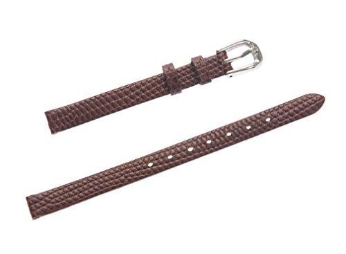 uYOUNG 8 mm Damen braun echtes Leder Eidechse Getreide duenn Armbanduhr Band