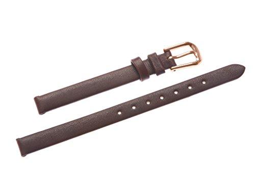 uYOUNG 8 mm Damen braun echtes Leder rose Golden Verschluss duenn Armbanduhr Band