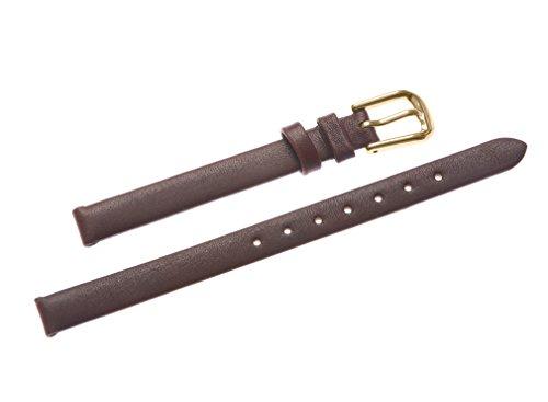 uYOUNG 8 mm Damen braun echtes Leder Golden Verschluss duenn Armbanduhr Band