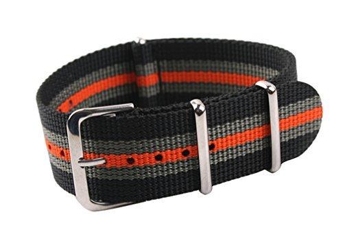 uYOUNG 24 mm Herren Orange Stripe Nylon Armbanduhr Band