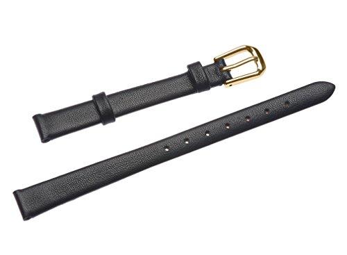 uYOUNG 10 mm Damen schwarz Echt Leder Golden Verschluss duenn Armbanduhr Band