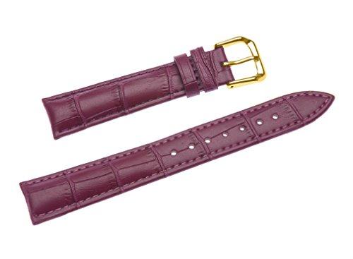 uYOUNG 14 mm Damen violett Echt Leder Alligator Korn Golden Schliesse Band Uhrenarmband