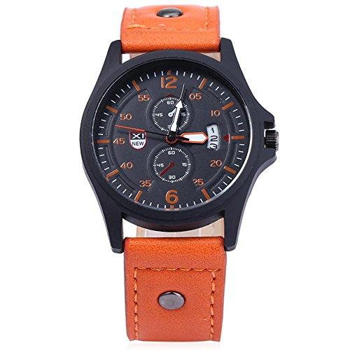 Leopard Shop xinew 2228 C Herren Sport Kalender Luminous Pointer Zwei Dekorative Zifferblaetter zur Armbanduhr Orange