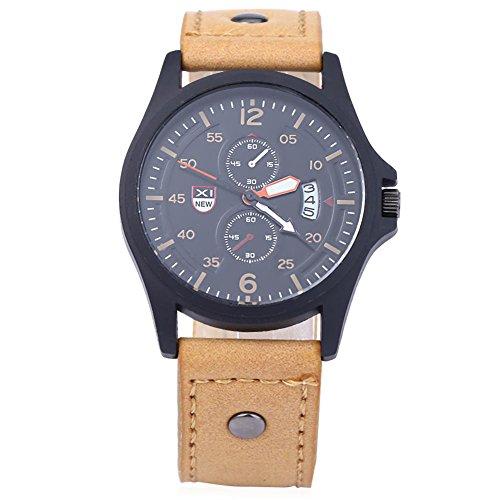 Leopard Shop xinew 2228 C Herren Sport Kalender Luminous Pointer Zwei Dekorative Zifferblaetter zur Armbanduhr Khaki