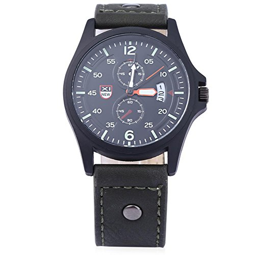 Leopard Shop xinew 2228 C Herren Sport Kalender Luminous Pointer Zwei Dekorative Zifferblaetter zur Armbanduhr Gruen