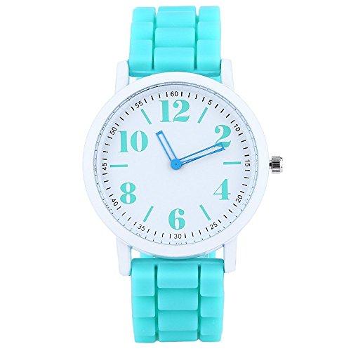 Leopard Shop xinew 1021 Frauen Pinky Farbe Silikon Gurt Jelly armbanduhr mint gruen