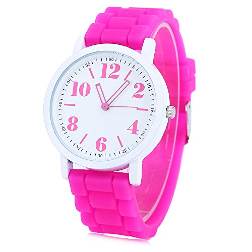 Leopard Shop xinew 1021 Frauen Pinky Farbe Silikon Gurt Jelly armbanduhr Rose
