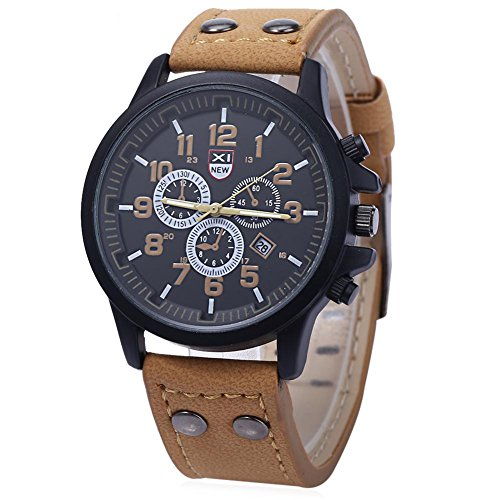 Leopard Shop xinew 2229 G Stecker Sport Drei Dekorative Zifferblaetter zur Kalender Armbanduhr Khaki