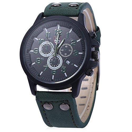 Leopard Shop xinew 2229 G Stecker Sport Drei Dekorative Zifferblaetter zur Kalender Armbanduhr Gruen