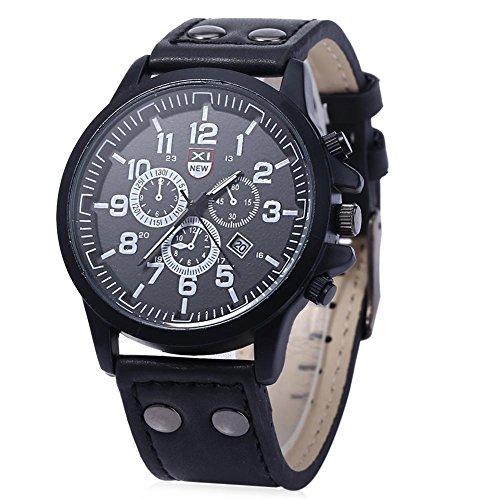 Leopard Shop xinew 2229 G Stecker Sport Drei Dekorative Zifferblaetter zur Kalender Armbanduhr Schwarz