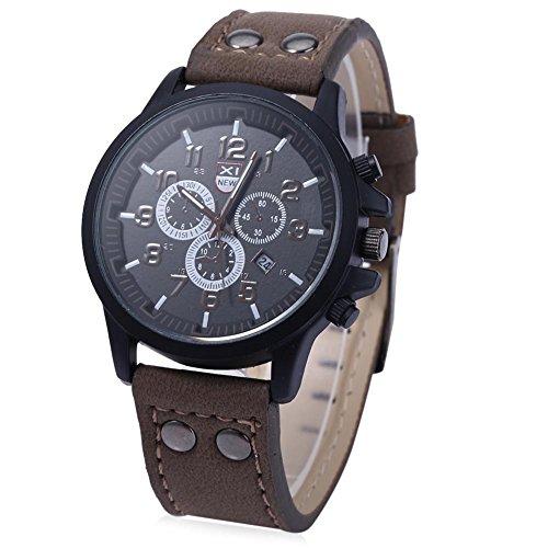 Leopard Shop xinew 2229 G Stecker Sport Drei Dekorative Zifferblaetter zur Kalender Armbanduhr Braun