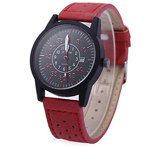 Leopard Shop xinew 2248 G Stecker Sport Quarzuhr Armbanduhr Luminous Pointer Kalender rot