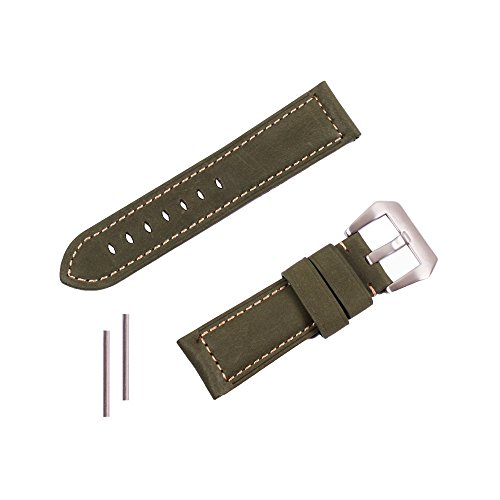 ygdz 24 mm Italien Kalb Leder mit Farbe gruen Wasserdicht Leder Armbanduhr Band fuer Herren Damen
