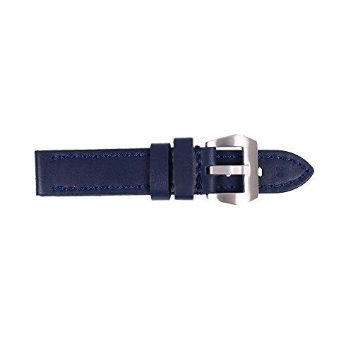 ygdz 20 mm Uhrenarmband Italien Kalb Leder handgefertigt Riemen mit Farbe blau Silber Schnalle