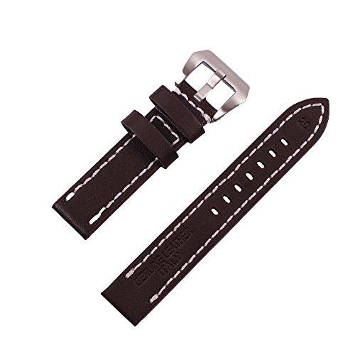 ygdz 20 mm Uhrenarmband Italien Kalb Leder handgefertigt Riemen mit Farbe braun Silber Schnalle