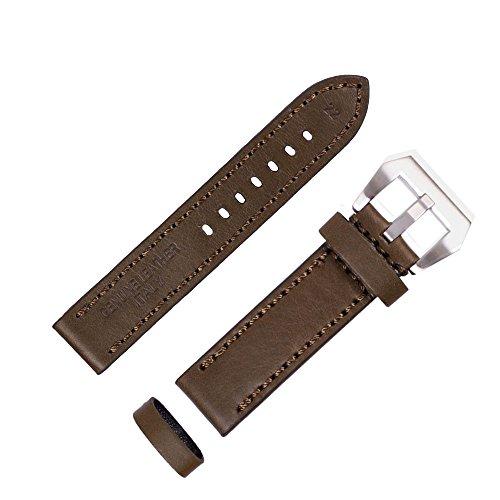 ygdz 20 mm Uhrenarmband Italien Kalb Leder handgefertigt Riemen mit Farbe gruen Silber Schnalle