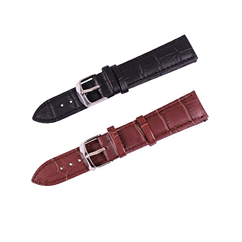 2PC ygdz Leder Uhrenarmband 20 mm echtes Rindsleder Herren Standard Krokodil gepraegt schwarz Kaffee