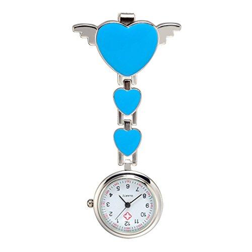 Trillycoler Huebsch Liebe Herz Quarz Vorhaenger Brosche Krankenschwester Taschenuhr Blau