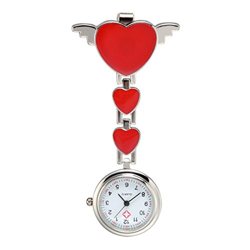 Trillycoler Huebsch Liebe Herz Quarz Vorhaenger Brosche Krankenschwester Taschenuhr Rot