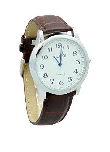 Yileiqi Men s versilbert braun PU Leder Strap Watch Armbanduhr
