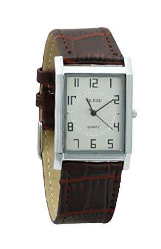 Yileiqi Herren Versilbert Braun PU Leder Uhrenarmband Quadrat Armbanduhr