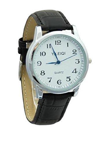 Yileiqi Men s versilbert schwarz PU Leder Strap Watch Armbanduhr