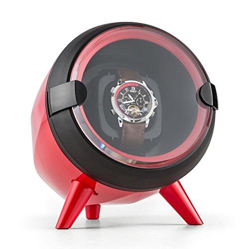 Klarstein Sindelfingen Uhrenbeweger 1 Uhr Rechts Links Lauf Aufnahme einer Automatikuhr 4 Bewegungsgeschwindigkeiten ideal zur Uhrenpraesentation rot