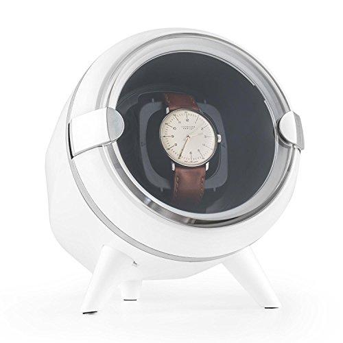 Klarstein Sindelfingen Uhrenbeweger Uhrendreher Uhrenbox fuer 1 Automatikuhr 4 Bewegungs Modi Samtkissen leise weiss