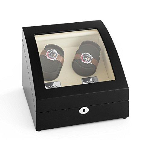 Klarstein Matterhorn Uhrenbeweger Uhrendreher Uhrenbox fuer 4 Automatikuhren 4 Bewegungs Modi Schaumkissen leise abschliessbar schwarz