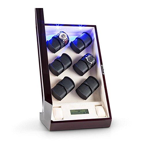 Klarstein Klingenthal Uhrenbeweger Uhrendreher Uhrenbox fuer 12 Automatikuhren leise frei waehlbare Bewegungsgeschwindigkeit Schaumkissen in Lederoptik mahagoni