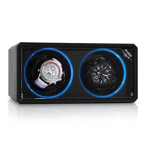 Klarstein 8LED2S Design Uhrenbeweger fuer 2 Uhren Drehtribuene mit blauen LED Lichteffekt 4 Rotationsmodi Sichtfenster fluesterleise schwarz