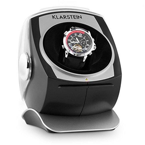 Klarstein Senna Uhrenbeweger Uhrendreher Uhrenbox fuer 1 Automatikuhr laufruhig leise Samtkissen 4 Bewegungs Modi schwarz