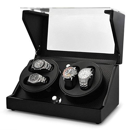 Klarstein CA2PM Uhrenbeweger Uhrenkasten fuer 4 Uhren Karbon Optik handgearbeitet 4 Programme integr Akku schwarz