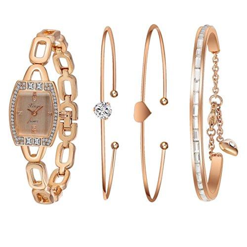 Sunward Golden Serie 592R Frauen Strass Love Armreif Armbanduhr und Armband Set