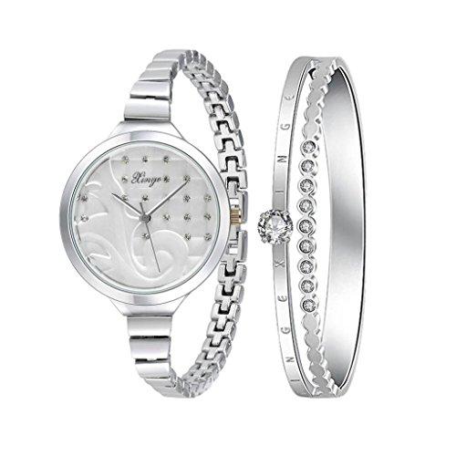 Sunward Kristall Serie 189S Frauen Silber Strass Armreif Armbanduhr und Armband Set