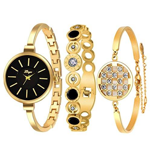 Sunward Golden Serie 609 GB Frauen Vintage Strass Armreif Armbanduhr und Armband Set