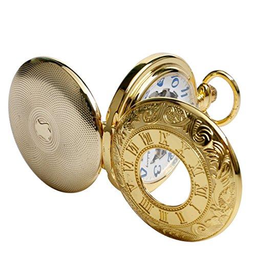 xigeya doppelt Hunter Golden Herren Mechanische Hand Wind Taschenuhr Gravur arabische Ziffern Weihnachts geschenke