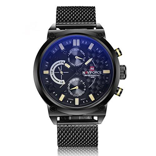 xigeya naviforce Herren Luxus Marke Analog Quarzuhr Man 3 ATM Wasserdicht Casual Military Sport Uhren Herren Full Stahl Armbanduhr